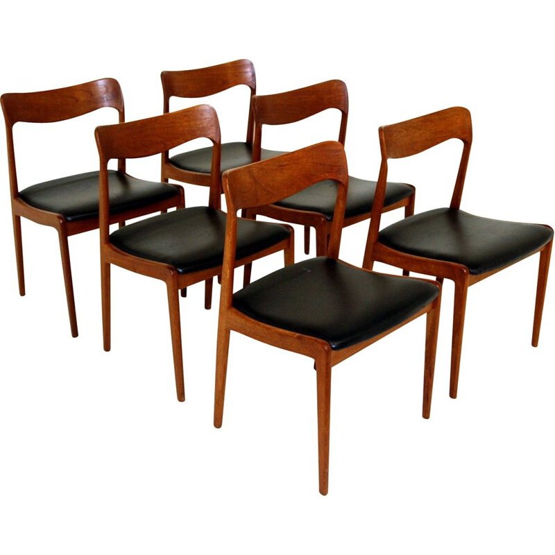 Set of 6 vintage teak and black leather chairs, Denmark 1960