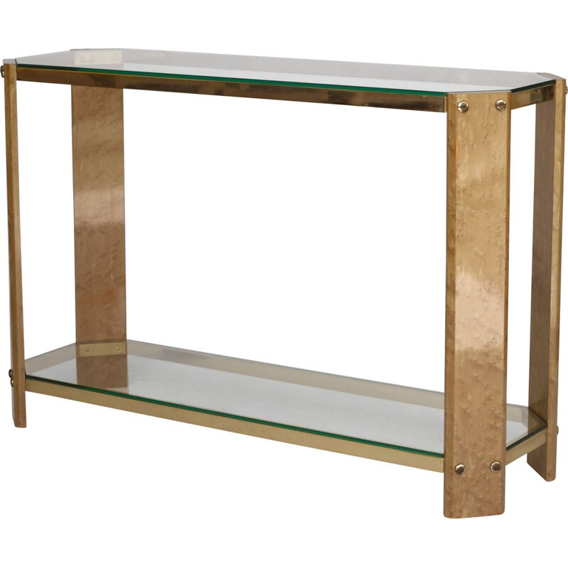Vintage Italian maple wood and brass console, 1970s