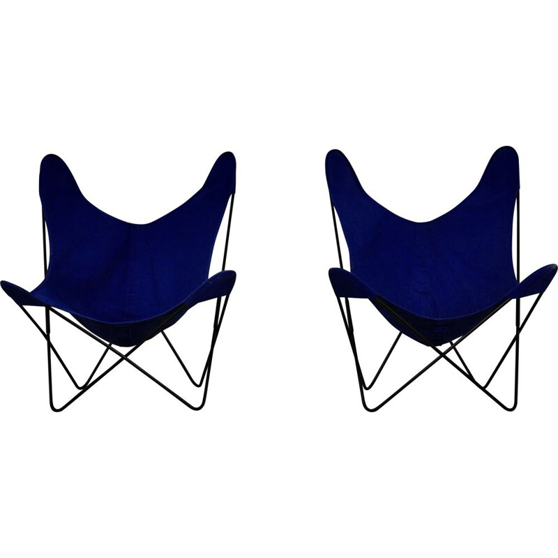 Pair of vintage metal and blue fabric armchairs by Jorge Ferrari-Hardoy for Knoll Inc