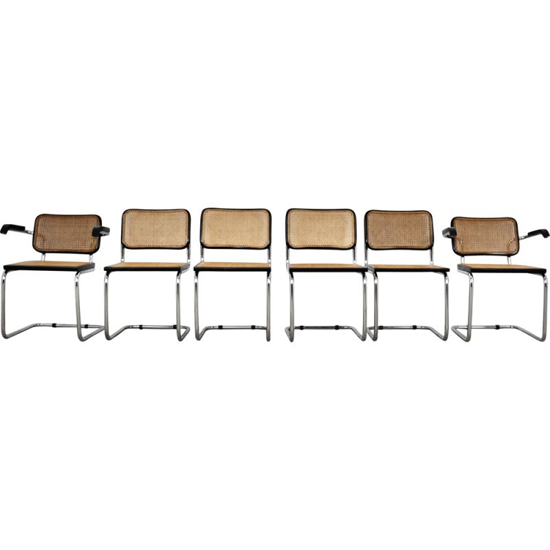 Set of vintage 4 chairs and 2 armchairs by Marcel Breuer