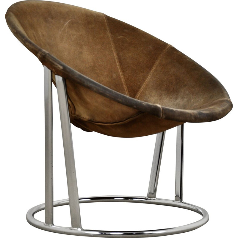 Vintage armchair in suede and chromed metal by E. Lusch for Lusch & Co, Germany 1970