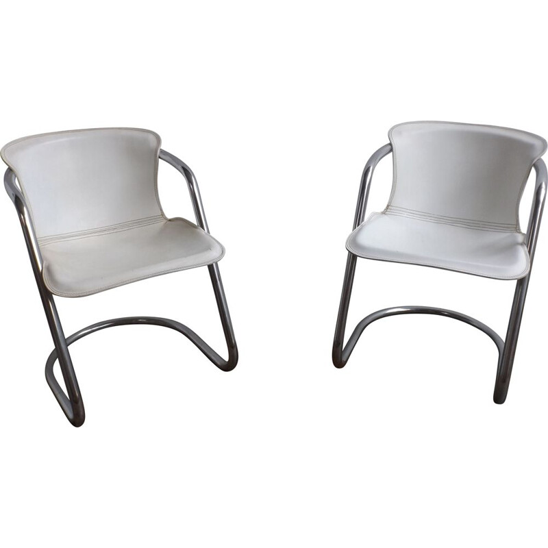 Pair of vintage white leather chairs by Willy Rizzo for Metaform
