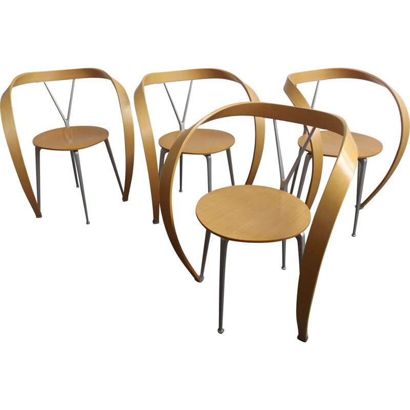 Set of 4 vintage reverse chairs by Andrea Branzi for Cassina