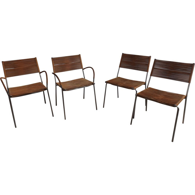 Set of 4 vintage Miss B chairs and 2 with armrests by Tito Agnoli for Pierre Antonio Bonazina