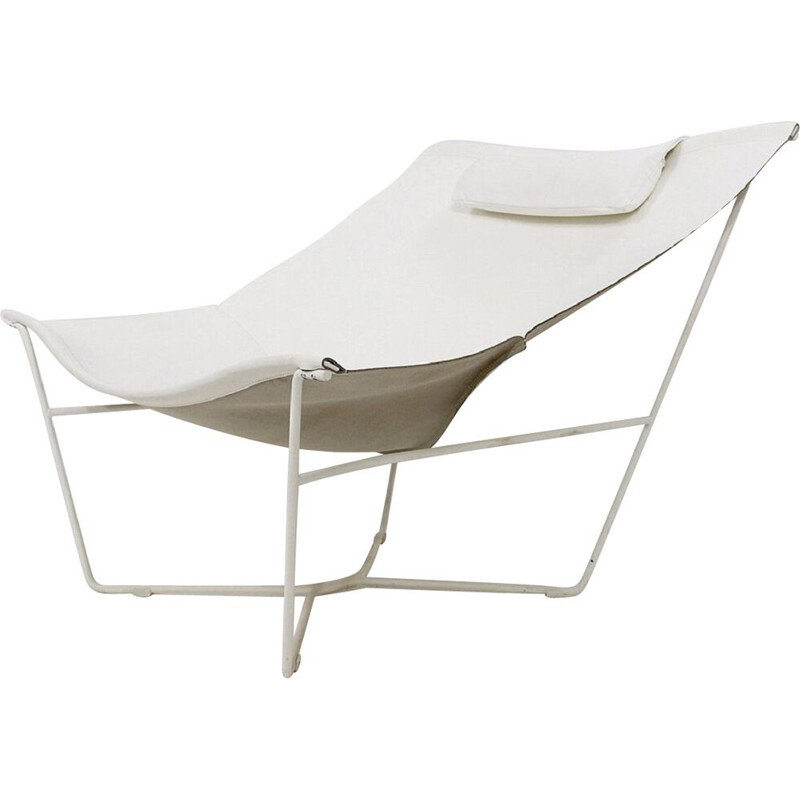"""""""Semana"""" vintage lounge chair in white leather and steel by David Weeks for Habitat UK"""