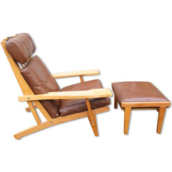 Getema high back lounge chair with footstool, H.J WEGNER - 1969