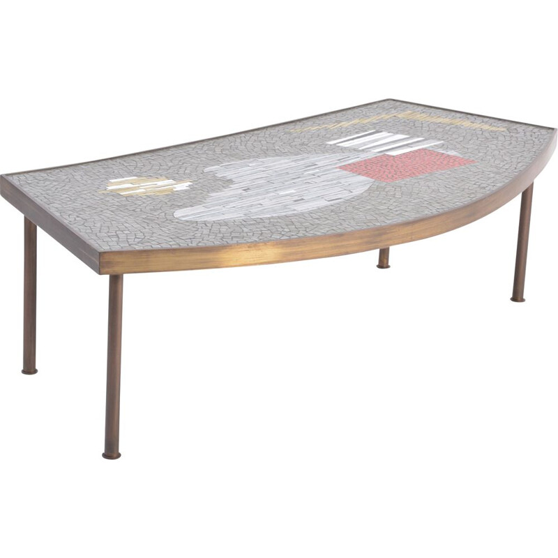 Mid century mosaic and brass coffee table by Berthold Muuller-Oerlinghausen, 1950s