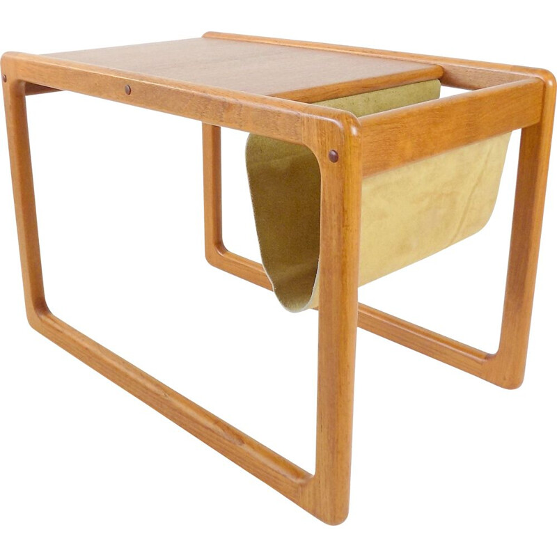 Vintage teak side table with newspaper compartment