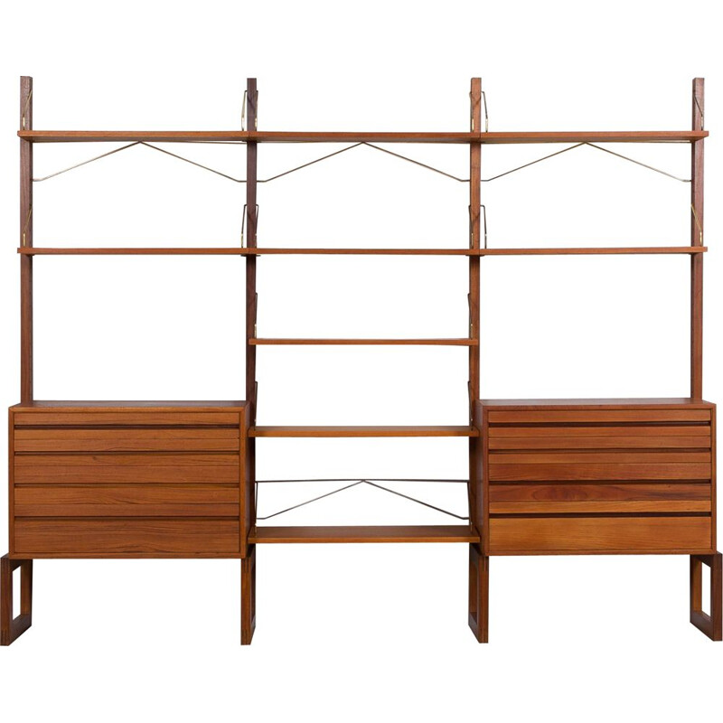 Vintage free standing shelving unit in teak by Poul Cadovius for Cado, Denmark 1960s