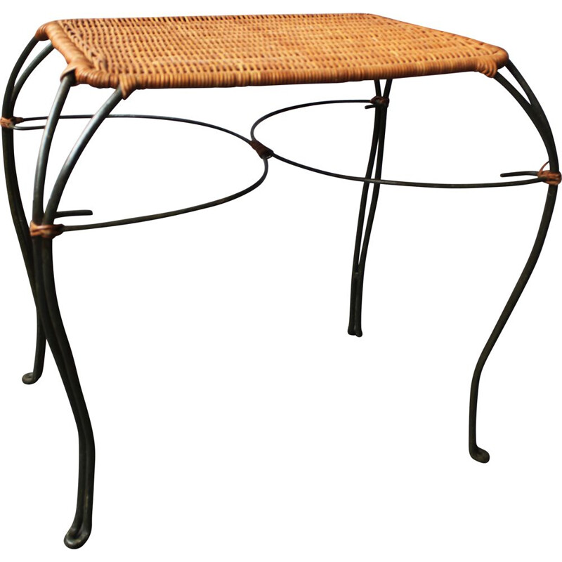 Vintage woven rattan and wrought iron side table