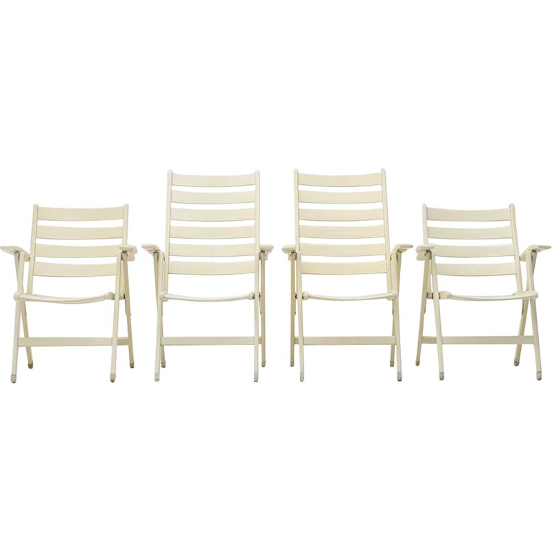 Set of 4 vintage folding solid wood outdoor armchairs, 1960s
