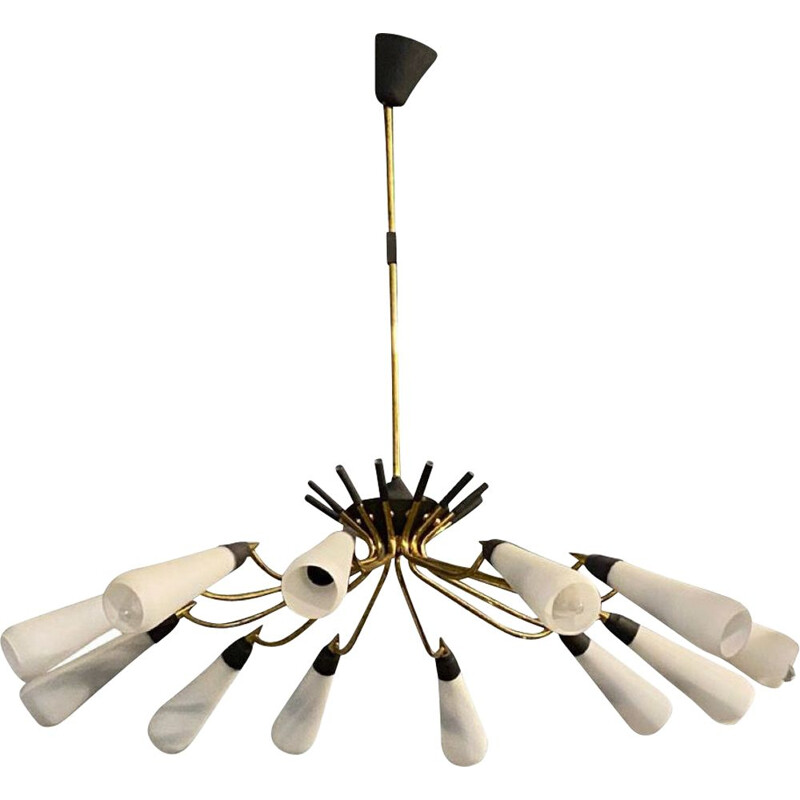 Mid-century brass and glass chandelier, Italy 1950s