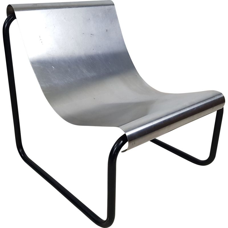 Vintage stainless steel armchair by Patrick Gingembre, 1970s