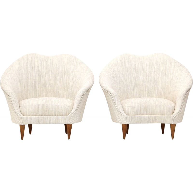 Pair of vintage armchairs in creamy white fabric by Federico Munari, 1950s