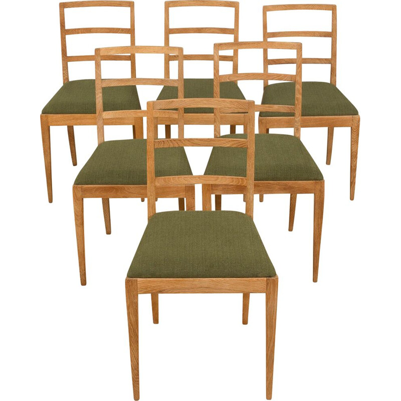 Set of 6 vintage dining chairs in sanded oakwood by Fritz Hansen, Denmark 1950s