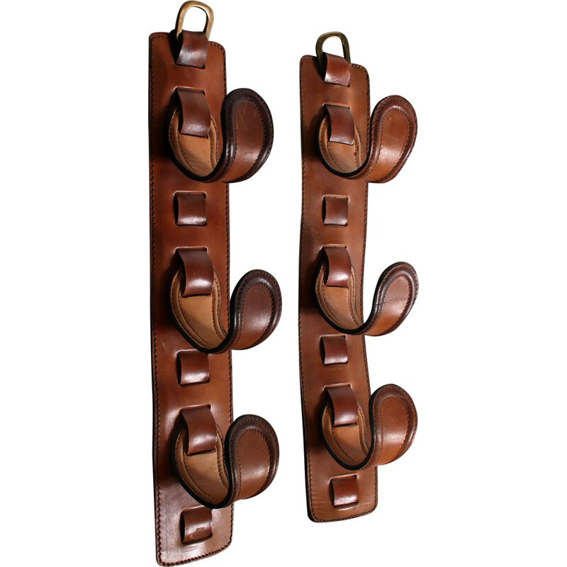 Vintage wall bottle holders by Jacques Adnet, France 1950s