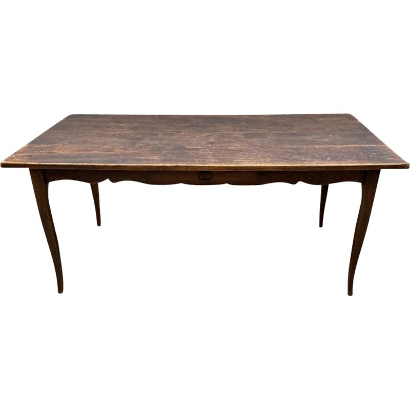 Vintage solid wood farm table with 1 drawer and 2 extensions, 1900