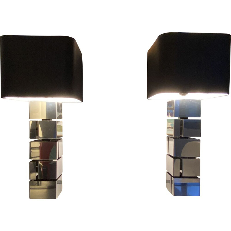 """Pair of vintage """"Building"""" lamps by Curtis Jeré, USA 1970"""