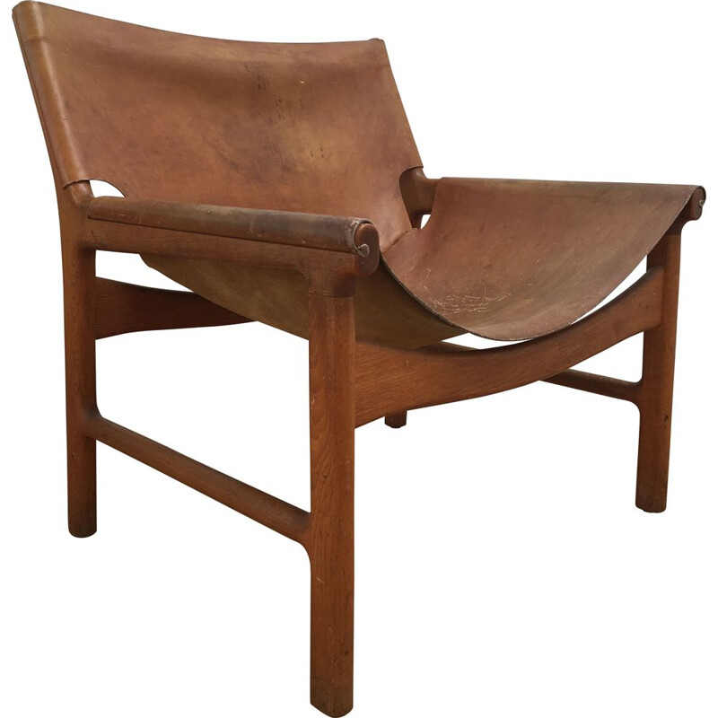 Vintage oakwood and leather armchair model 103 by Illum Wikkelsø for Mikael Laursen