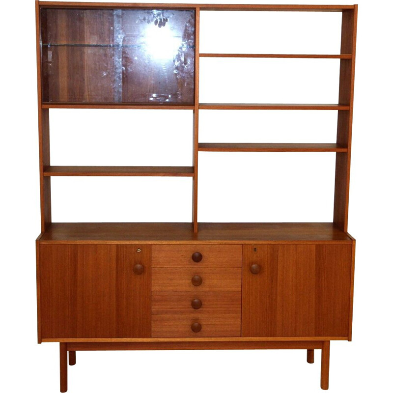 Vintage glass and wood bookcase, Sweden 1960