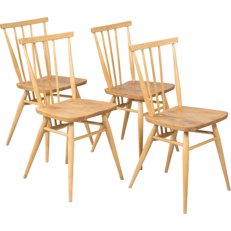 Set of 4 vintage chairs 391 All Purpose by L.Ercolani for Ercol, 1960s