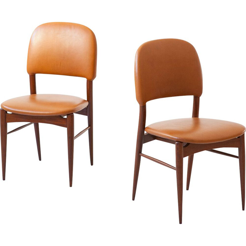 Pair of Italian vintage teak and cognac leather chairs, 1950s