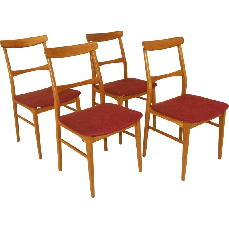 Set of 4 vintage oakwood and fabric chairs, Sweden 1960