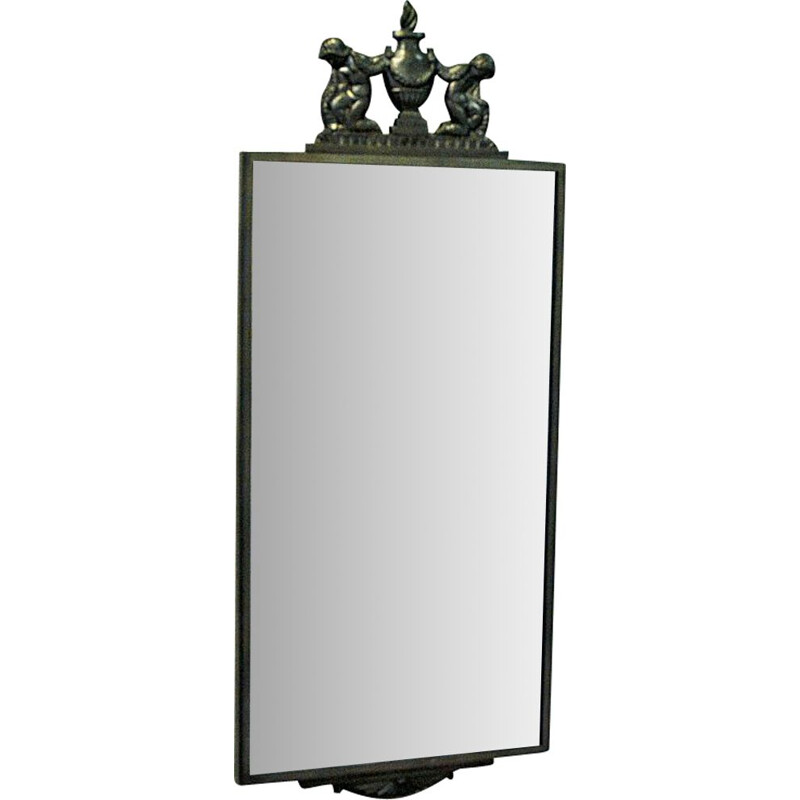 Mid century pewter wall mirror by Oscar Antonsson for Ystad Metall, Sweden 1929