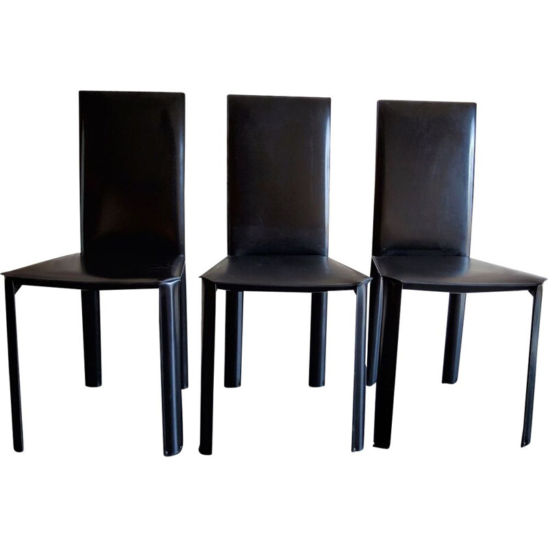 Set of 3 vintage steel and black leather chairs by De Couro of brazil