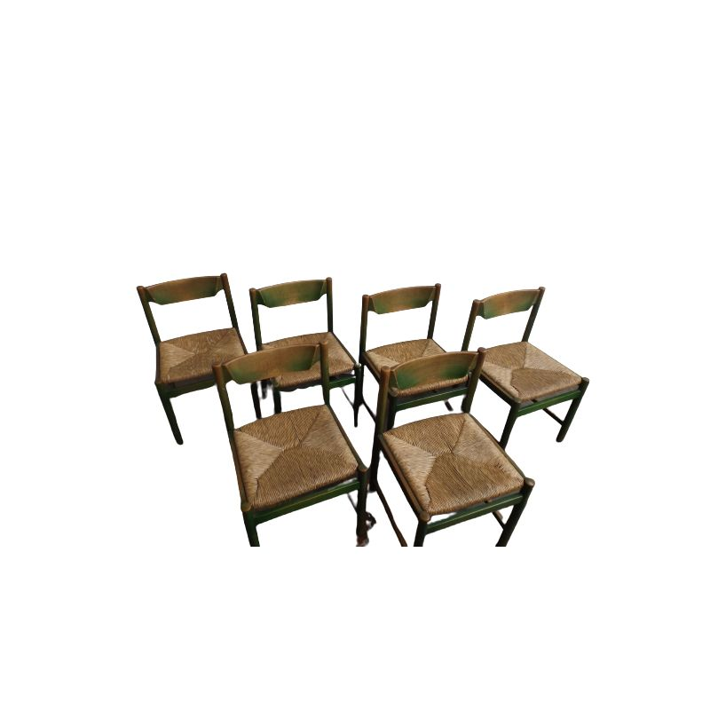 6 Italian vintage wooden and rush dining chairs, 1970s