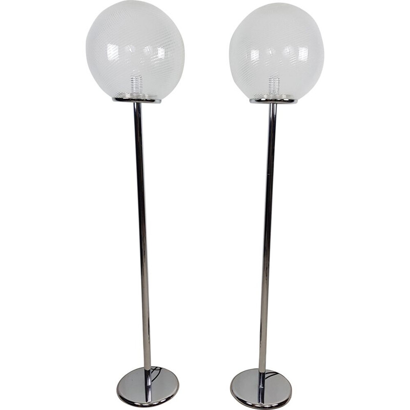 Pair of vintage floor lamps model Tessuto by Massimo and Lella Vignelli for Venini Murano, 1982