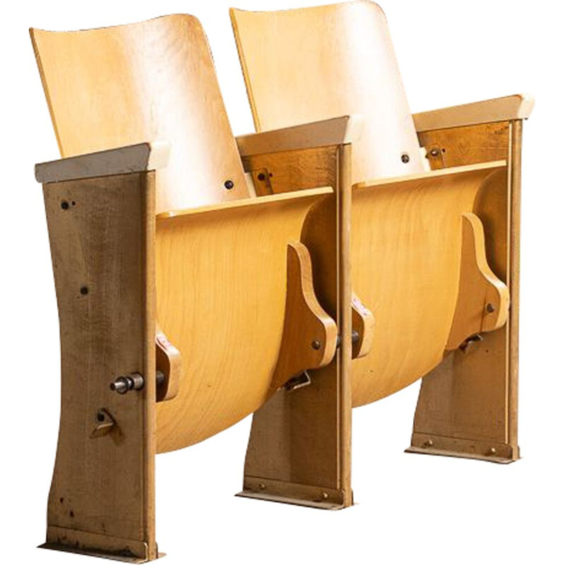 Vintage movie theater strapontin with 2 numbered seats, 1950-1960