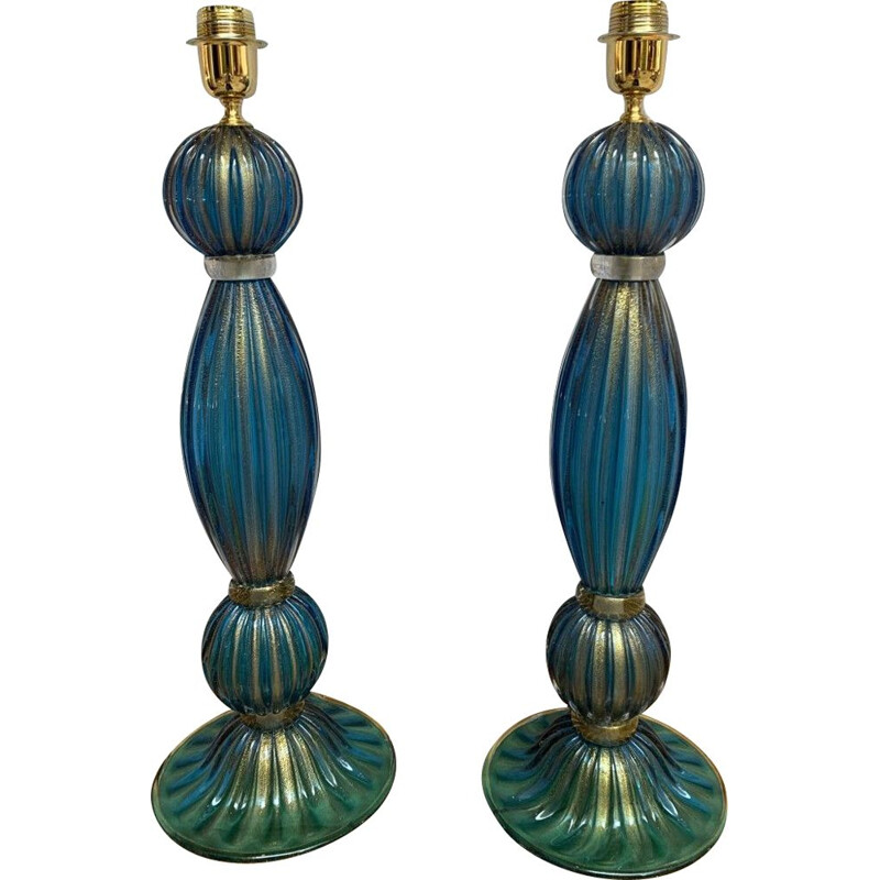 Pair of vintage Murano glass lamps by Toso Murano, 1980
