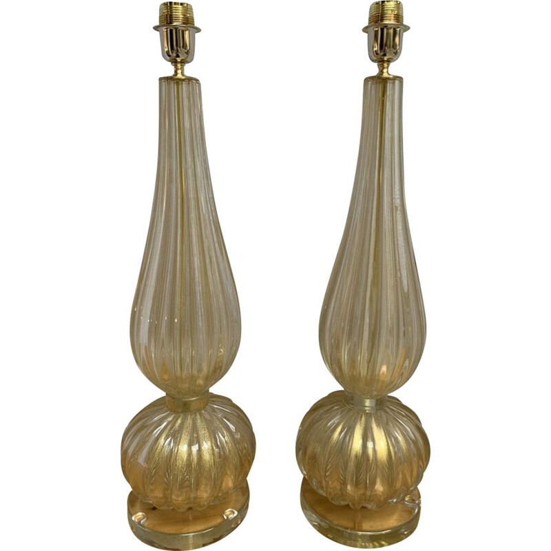 Pair of vintage Murano glass lamps by Toso Murano, 1990
