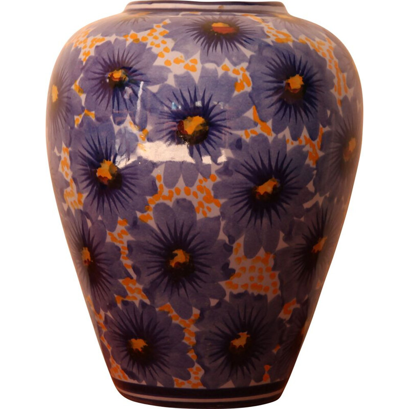 Vintage vase with floral motifs by Accolay, Portugal