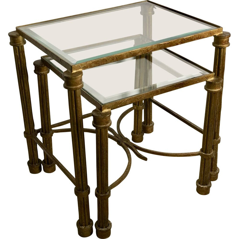Vintage iron and bevelled glass nesting tables, 1980s