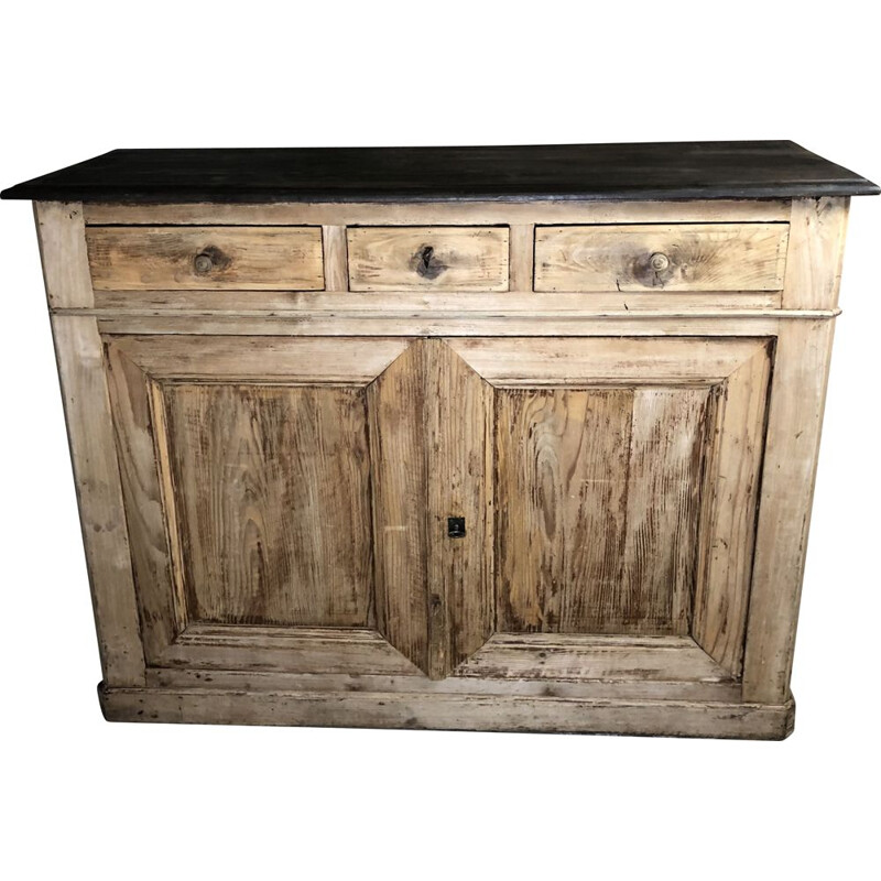 Vintage highboard in pichepin and waxed blackened wood top