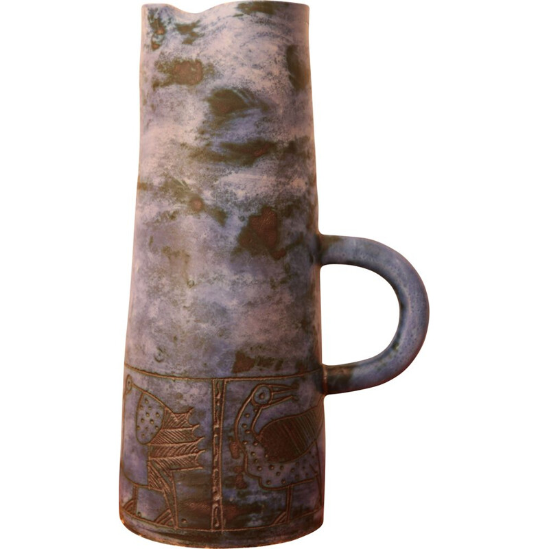 Vintage sgraffito pitcher by Jacques Blin, 1950