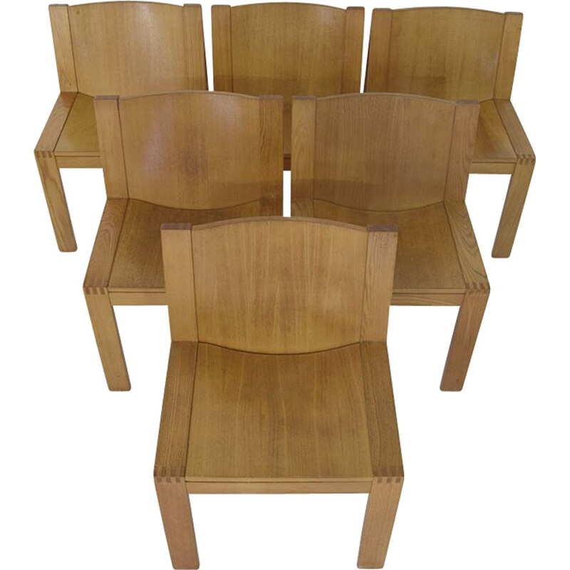 Set of 6 vintage minimalistic dining chairs by Maizarac & Boonzaaijer for Pastoe, 1970s