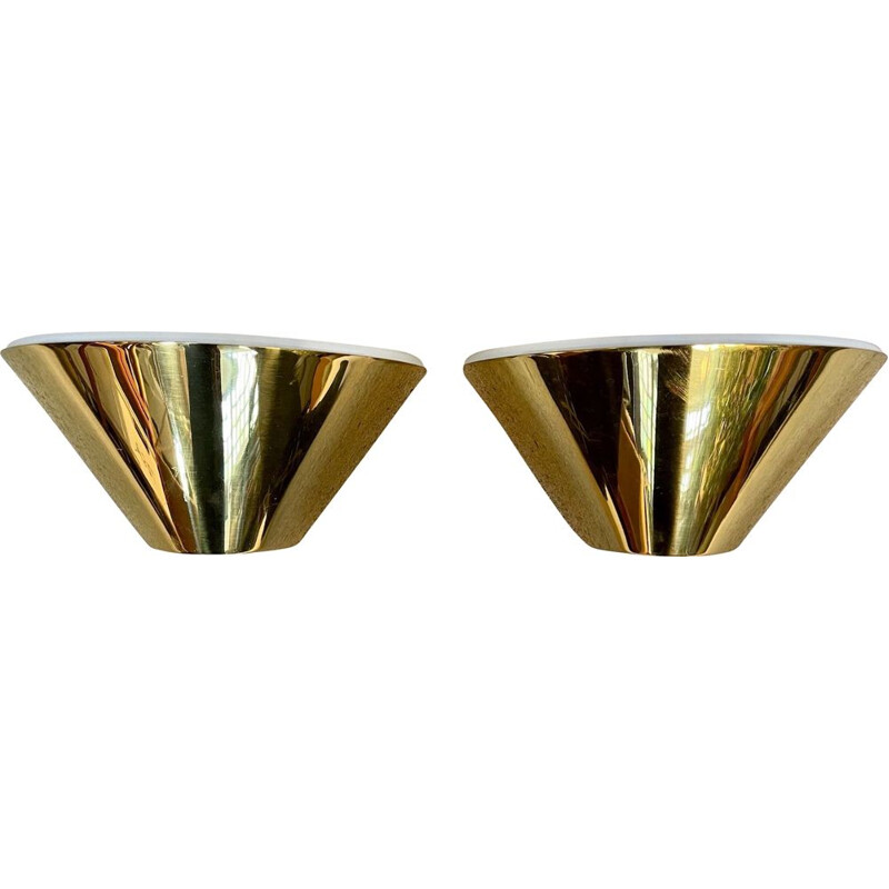 Pair of vintage brass wall lamps by Glashütte Limburg, Germany 1960s