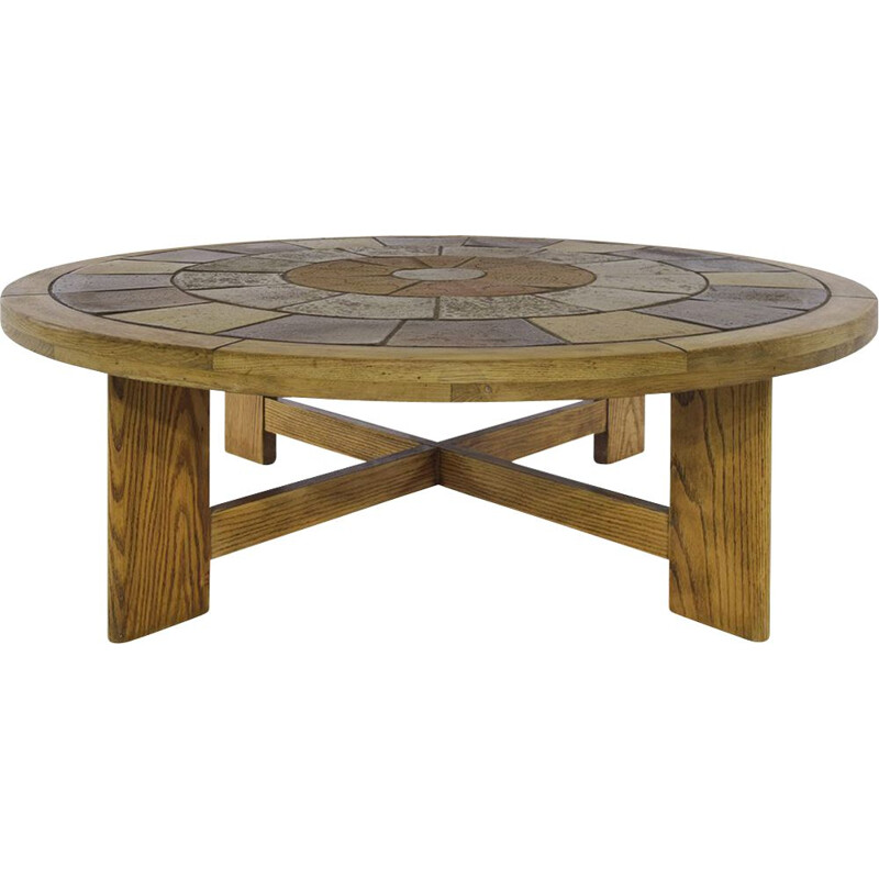 Brutalist Danish vintage coffee table with titles inlay by Tue Poulsen for Haslev, Denmark 1960s