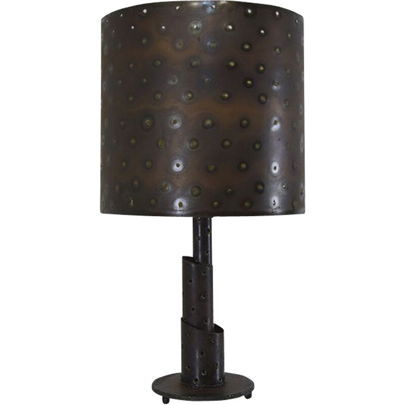 Brutalist vintage bronze torch cut table lamp with matching shade, 1960s