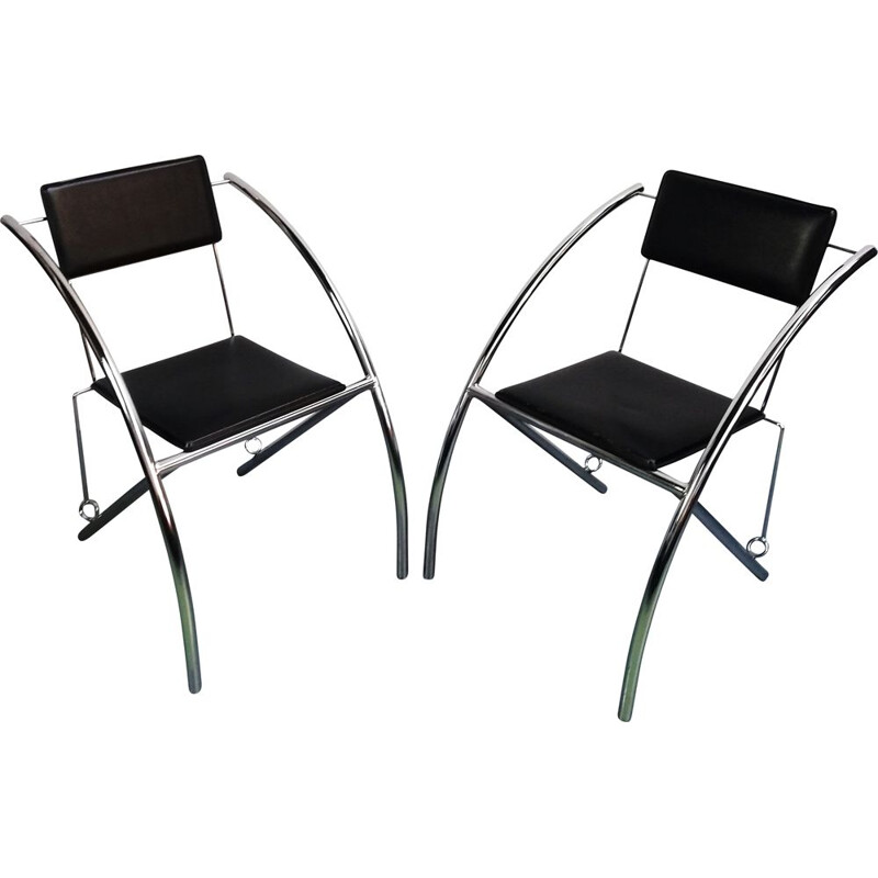 Pair of vintage chairs in leather and chromed aluminium