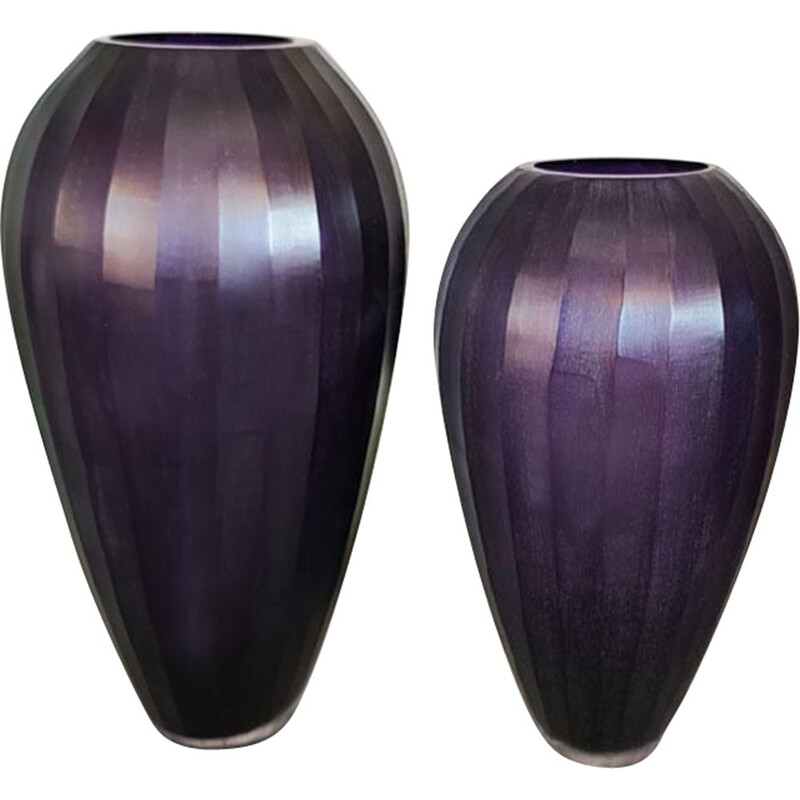 Purple pair of vintage vases in Murano Glass, Italy 1970s
