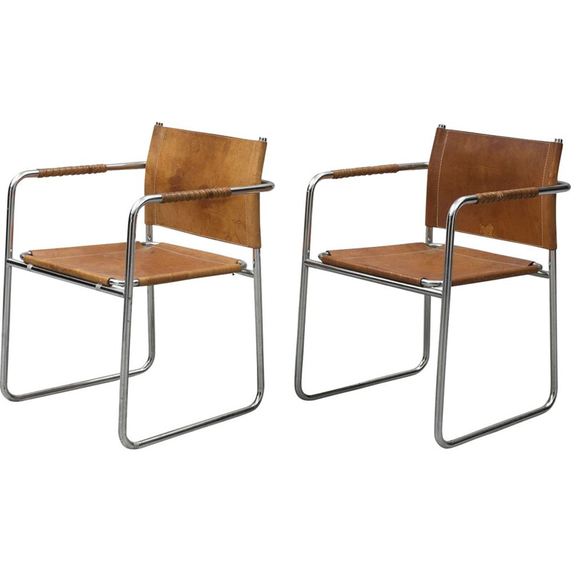 Pair of vintage chrome and leather Admiral armchairs by Karin Mobring for Ikea, Sweden 1970