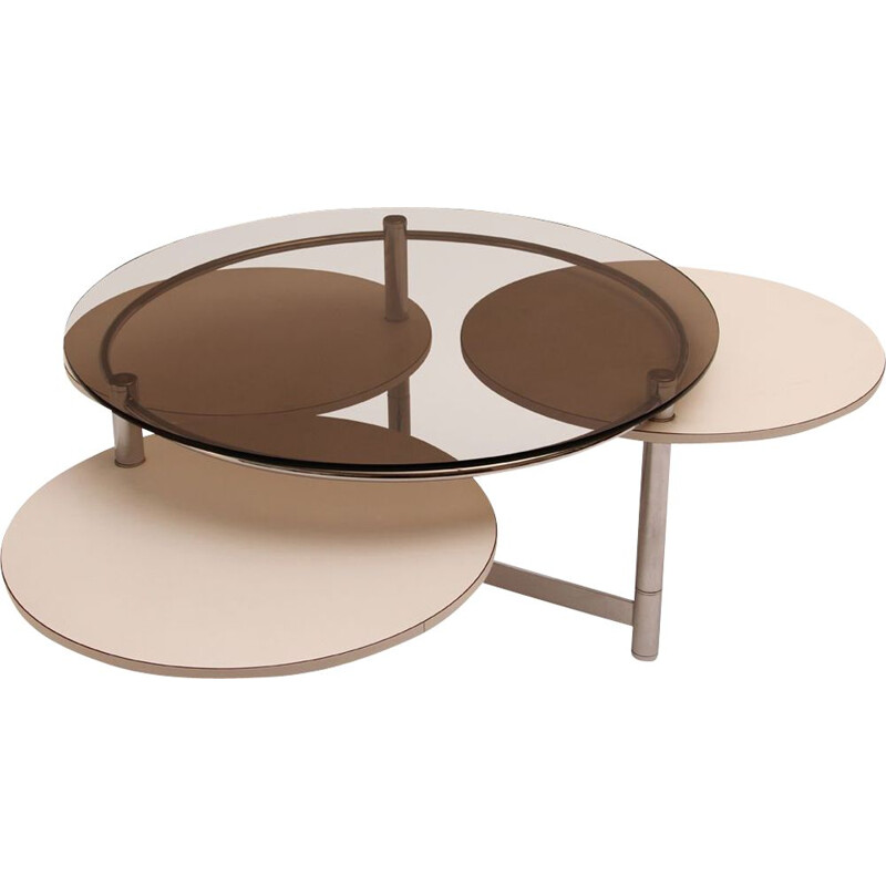 Vintage smoked glass coffee table with 3 swivel tops, 1970