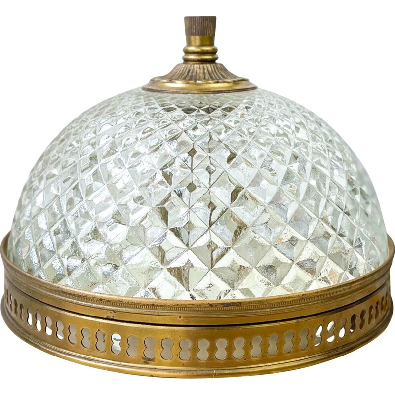 Vintage globe lamp in glass and gold metal