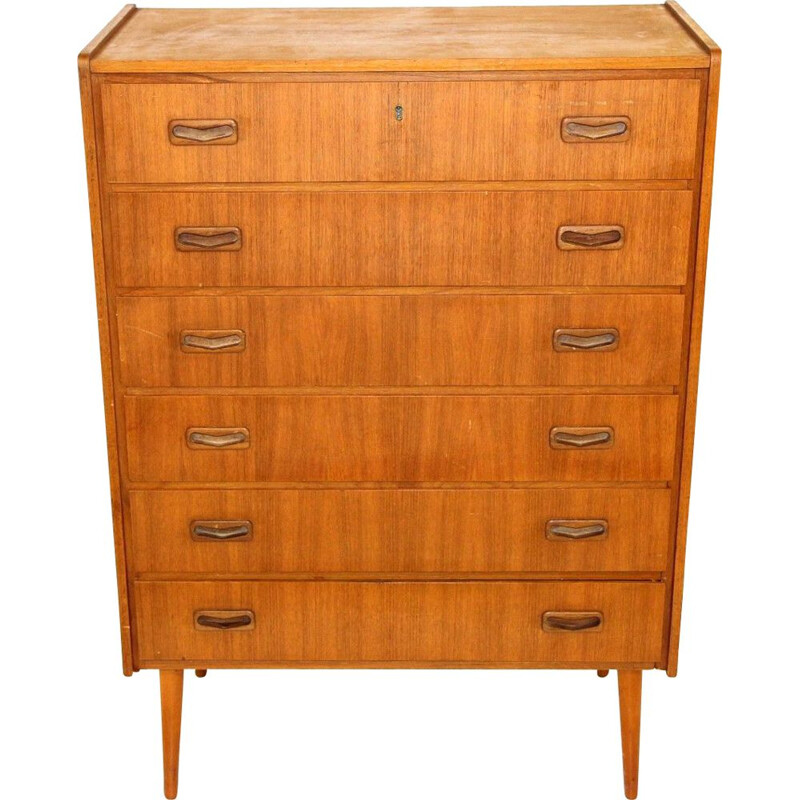 Vintage teak chest of drawers with 6 drawers, Sweden 1960