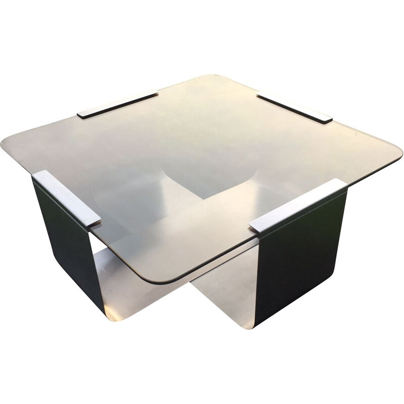 Vintage coffee table in smoked glass by François MONNET for KAPPA, 1970