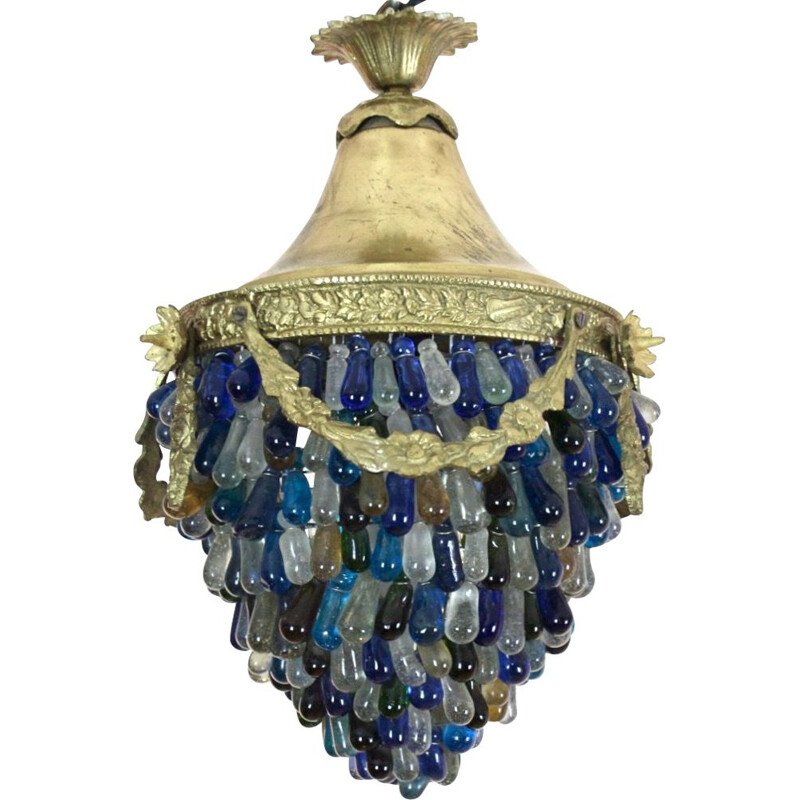 Neoclassical vintage Murano glass Acorn ceiling lamp, Italy 1950s